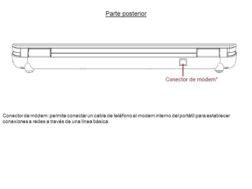 Parte posterior Conector de módem: permite conectar un cable de teléfono al modem interno del portátil para establecer conexiones a redes a través de