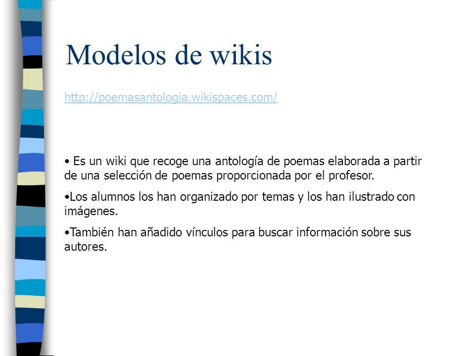 Modelos de wikis http://poemasantologia.wikispaces.com/ Es un wiki que recoge una antología de poemas elaborada a partir de una selección de poemas proporcionada por el profesor.