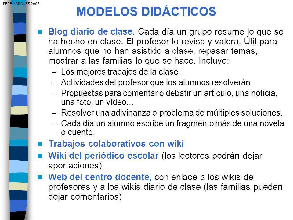 MODELOS DIDÁCTICOS Blog diario de clase. Cada día un grupo resume lo que se ha hecho en clase.