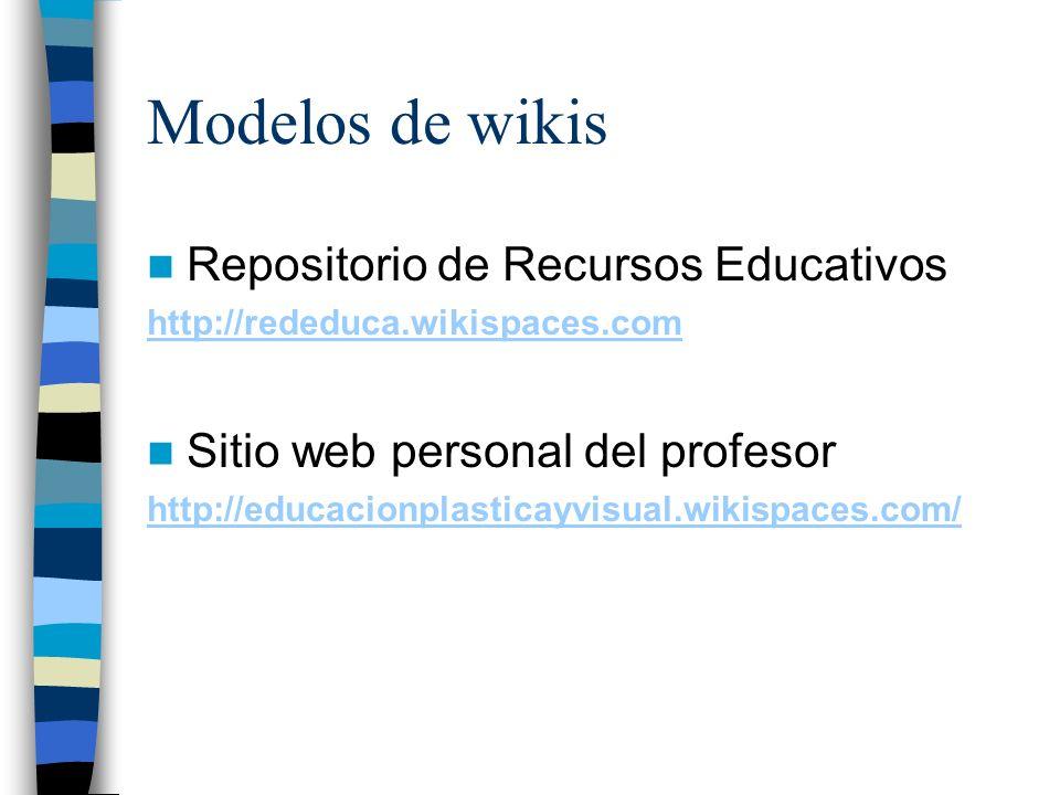 Modelos de wikis Repositorio de Recursos Educativos http://rededuca.wikispaces.com Sitio web personal del profesor http://educacionplasticayvisual.wik