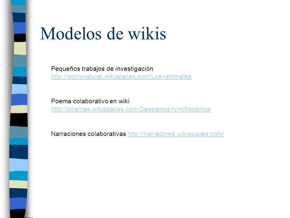 Modelos de wikis Pequeños trabajos de investigación http://socionatural.wikispaces.com/Los+animales http://socionatural.wikispaces.com/Los+animales Po