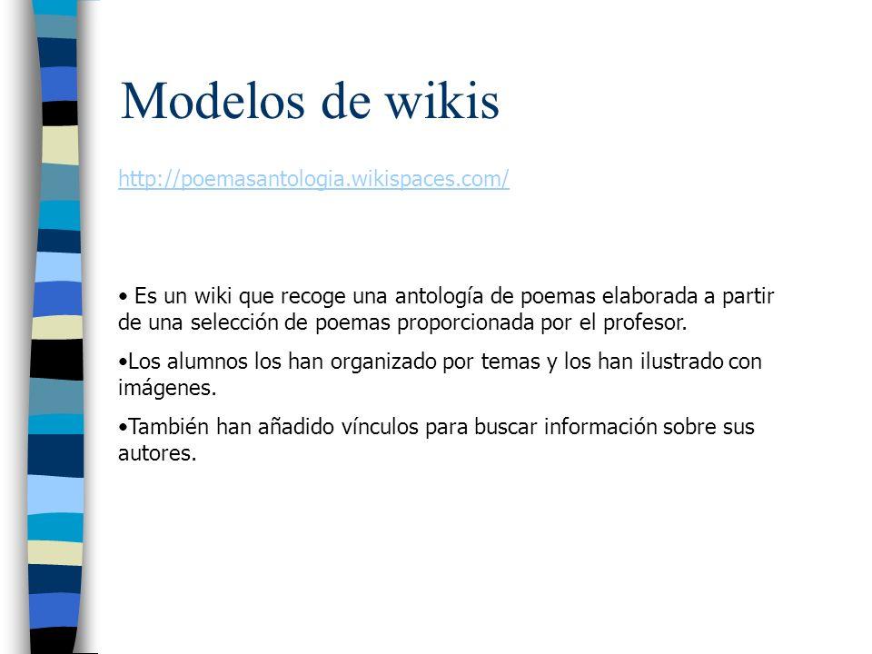 Modelos de wikis http://poemasantologia.wikispaces.com/ Es un wiki que recoge una antología de poemas elaborada a partir de una selección de poemas pr