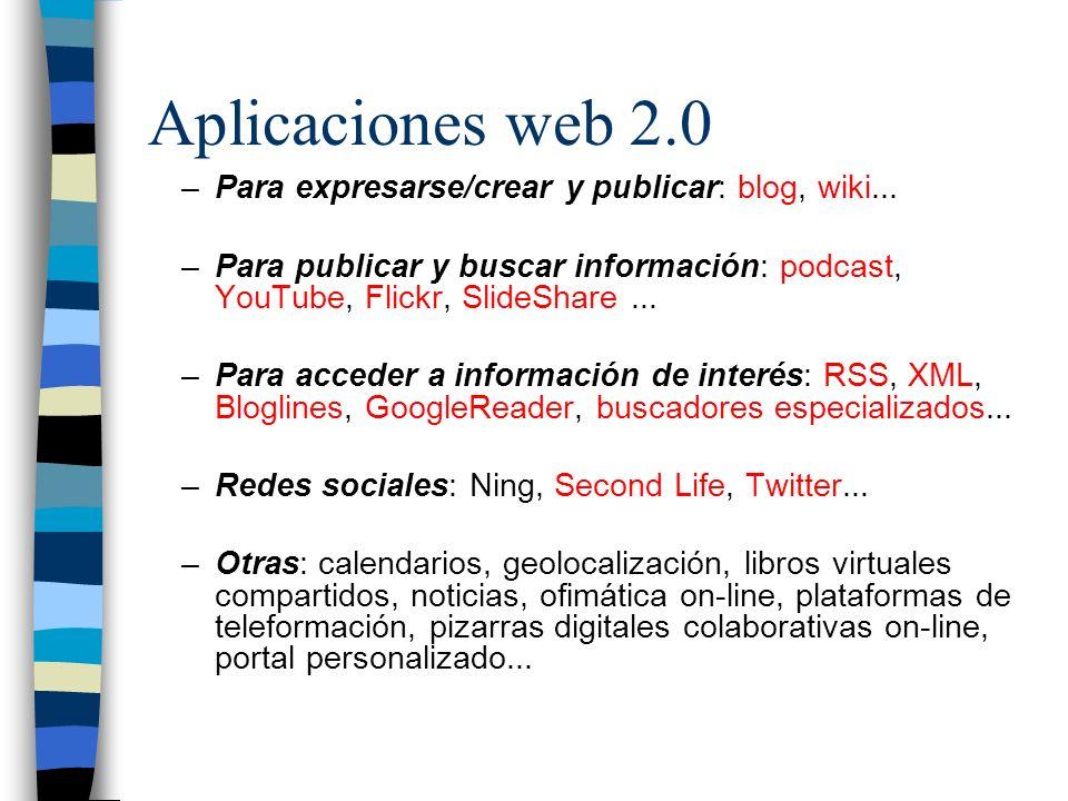 Aplicaciones web 2.0 –Para expresarse/crear y publicar: blog, wiki... –Para publicar y buscar información: podcast, YouTube, Flickr, SlideShare... –Pa