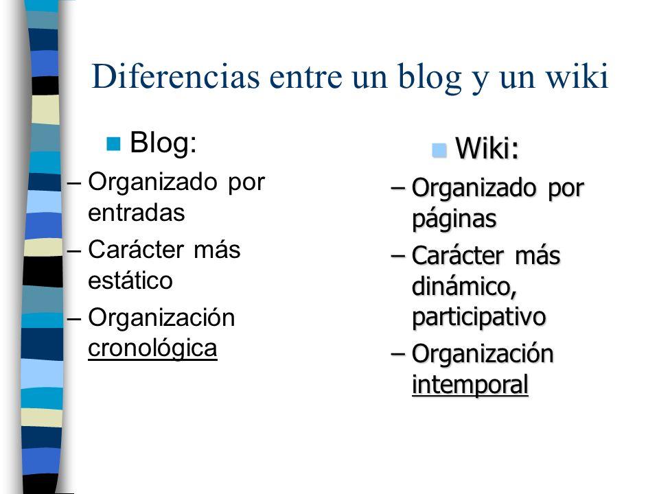 Diferencias entre un blog y un wiki Blog: –Organizado por entradas –Carácter más estático –Organización cronológica Wiki: Wiki: –Organizado por página