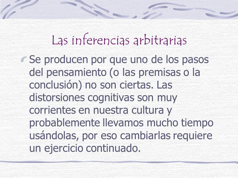 Las inferencias arbitrarias Se producen por que uno de los pasos del pensamiento (o las premisas o la conclusión) no son ciertas. Las distorsiones cog