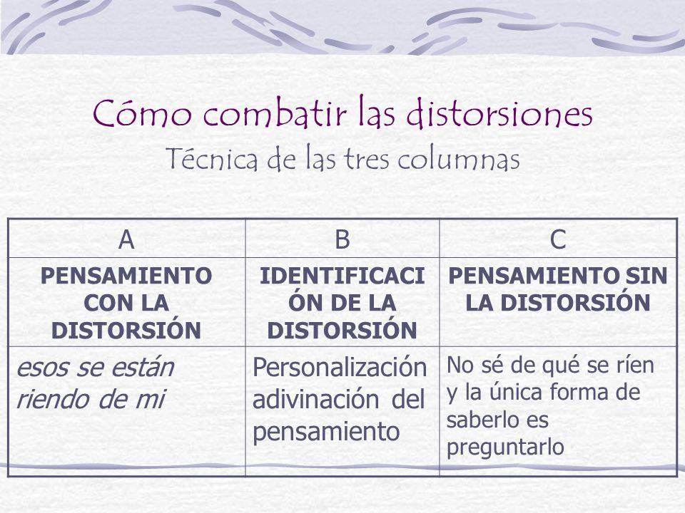 Cómo combatir las distorsiones Técnica de las tres columnas ABC PENSAMIENTO CON LA DISTORSIÓN IDENTIFICACI ÓN DE LA DISTORSIÓN PENSAMIENTO SIN LA DIST