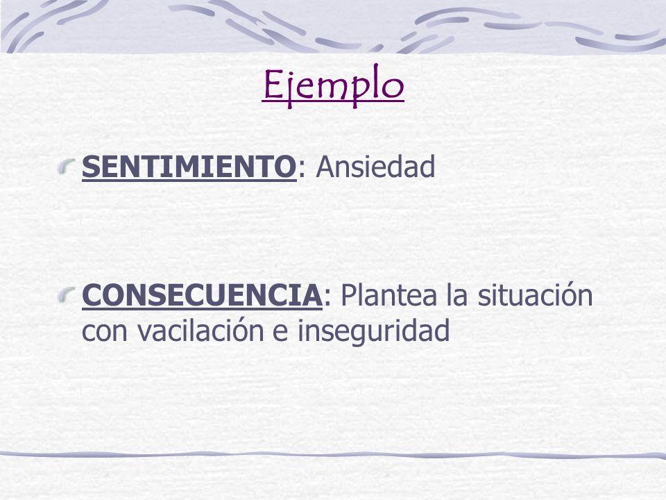 Ejemplo SENTIMIENTO: Ansiedad CONSECUENCIA: Plantea la situación con vacilación e inseguridad
