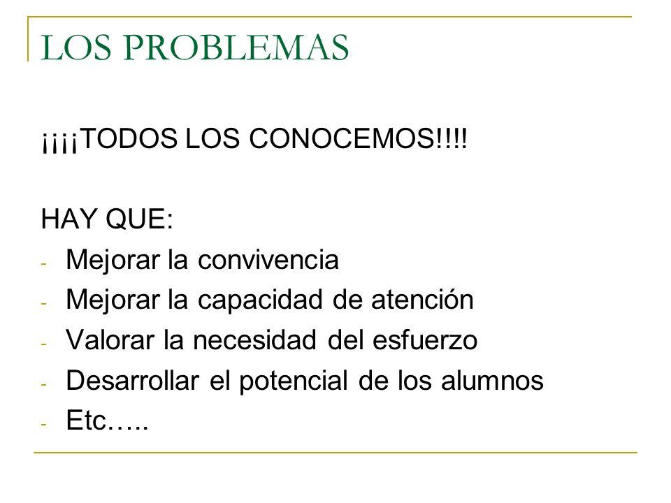 LOS PROBLEMAS ¡¡¡¡TODOS LOS CONOCEMOS!!!! HAY QUE: - Mejorar la convivencia - Mejorar la capacidad de atención - Valorar la necesidad del esfuerzo - D