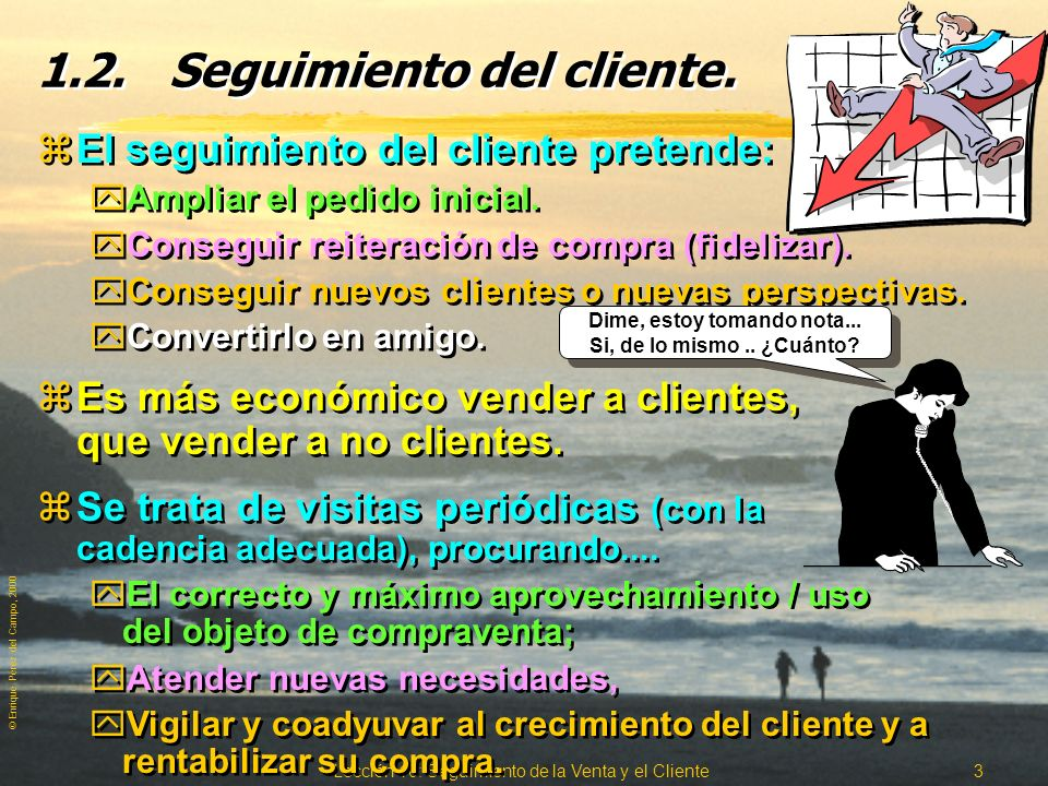© Enrique Pérez del Campo, 2000 Lección 10: Seguimiento de la Venta y el Cliente 2 1.1.Seguimiento de la venta y Cobro. zLa venta no finaliza hasta el