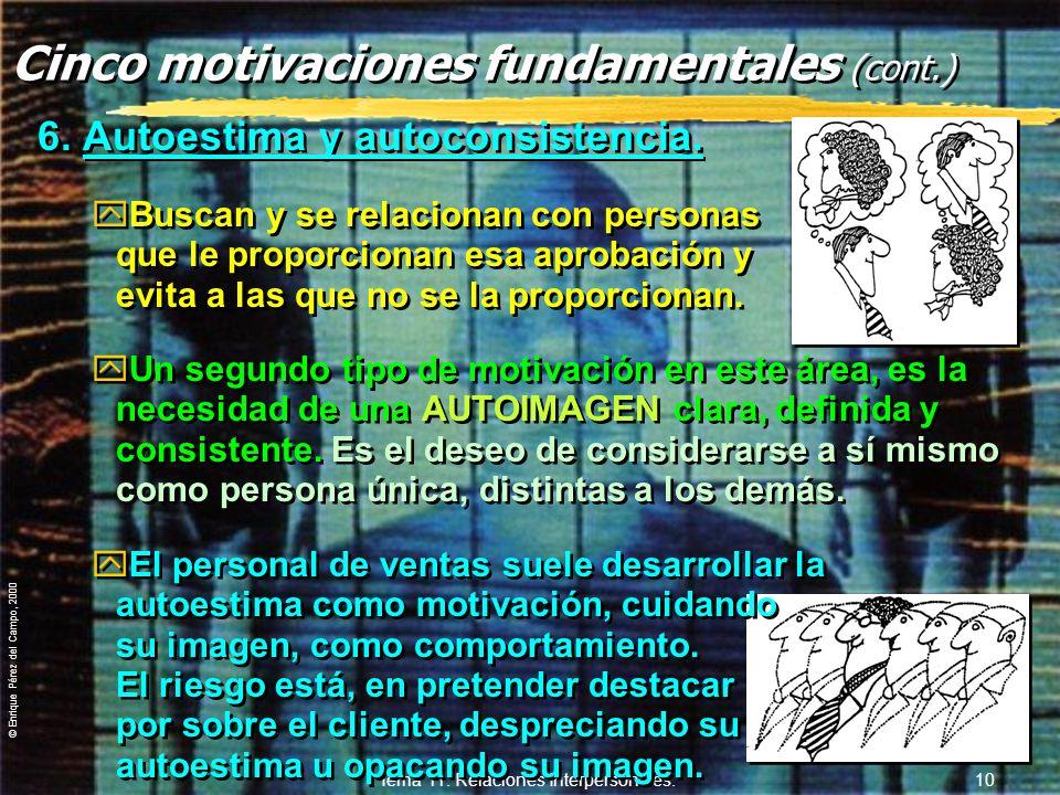 © Enrique Pérez del Campo, 2000 Tema 11. Relaciones Interpersonales. 9 Motivación y Personalidad zUna determinada motivación dominante, no significa n