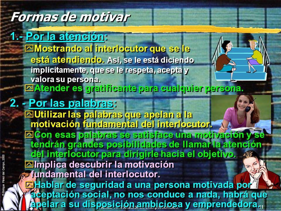 © Enrique Pérez del Campo, 2000 Tema 11. Relaciones Interpersonales. 10 6. Autoestima y autoconsistencia. yBuscan y se relacionan con personas que le