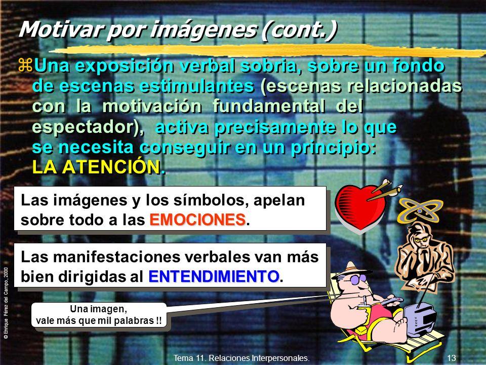 © Enrique Pérez del Campo, 2000 Tema 11. Relaciones Interpersonales. 12 Formas de motivar (cont.) 3. - Por imágenes: yEn comunicación escrita: expresi