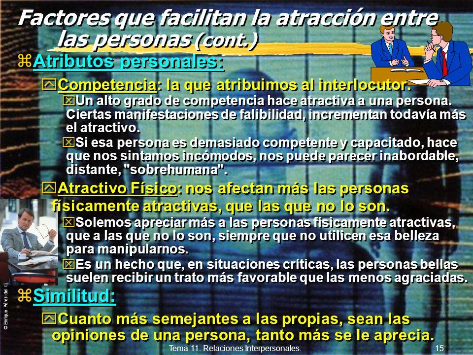 © Enrique Pérez del Campo, 2000 Tema 11. Relaciones Interpersonales. 14 Factores que facilitan la atracción entre las personas (E. Aronson). zAlabanza