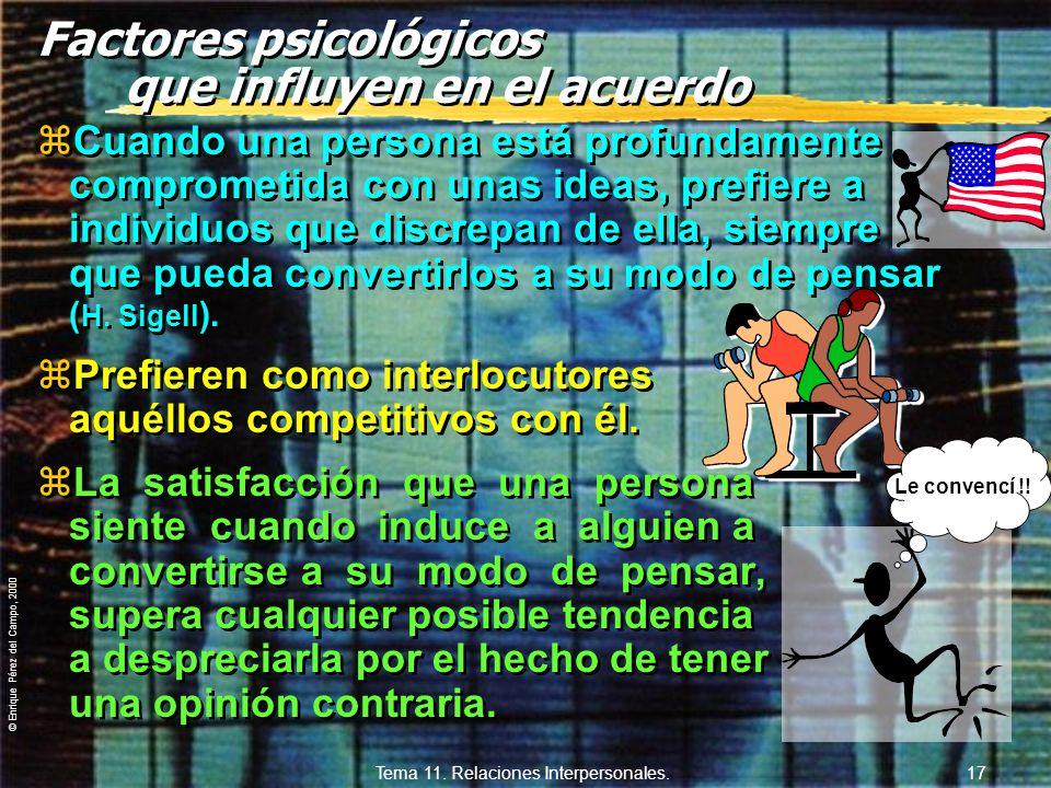© Enrique Pérez del Campo, 2000 Tema 11. Relaciones Interpersonales. 16 ¿Qué factores psicológicos influyen en el acuerdo? 1º La persona que comparte