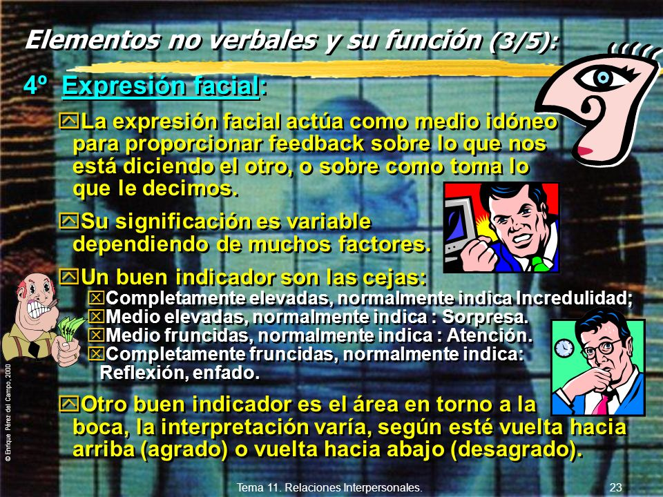 © Enrique Pérez del Campo, 2000 Tema 11. Relaciones Interpersonales. 22 Elementos no verbales y su función (2/5): 3º Postura corporal: yGeneralmente p