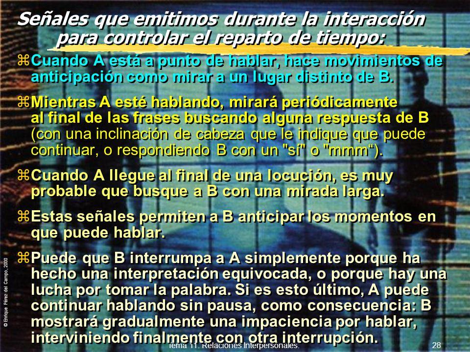 © Enrique Pérez del Campo, 2000 Tema 11. Relaciones Interpersonales. 27 11.3.3. El