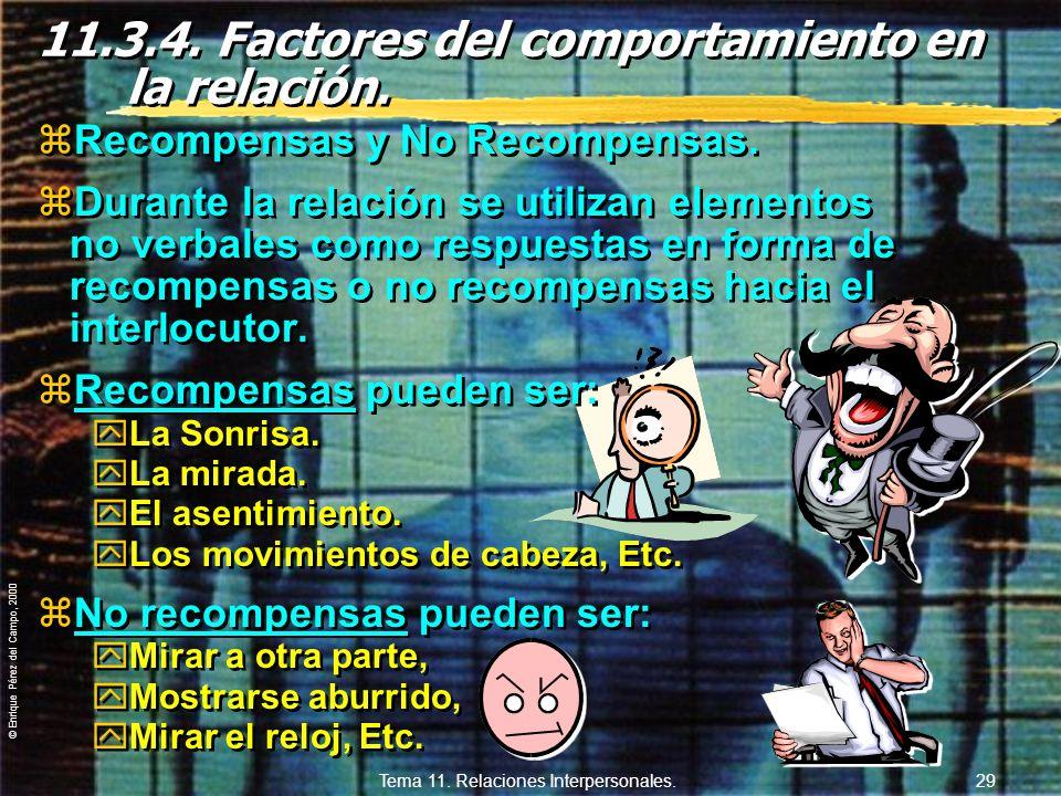 © Enrique Pérez del Campo, 2000 Tema 11. Relaciones Interpersonales. 28 Señales que emitimos durante la interacción para controlar el reparto de tiemp
