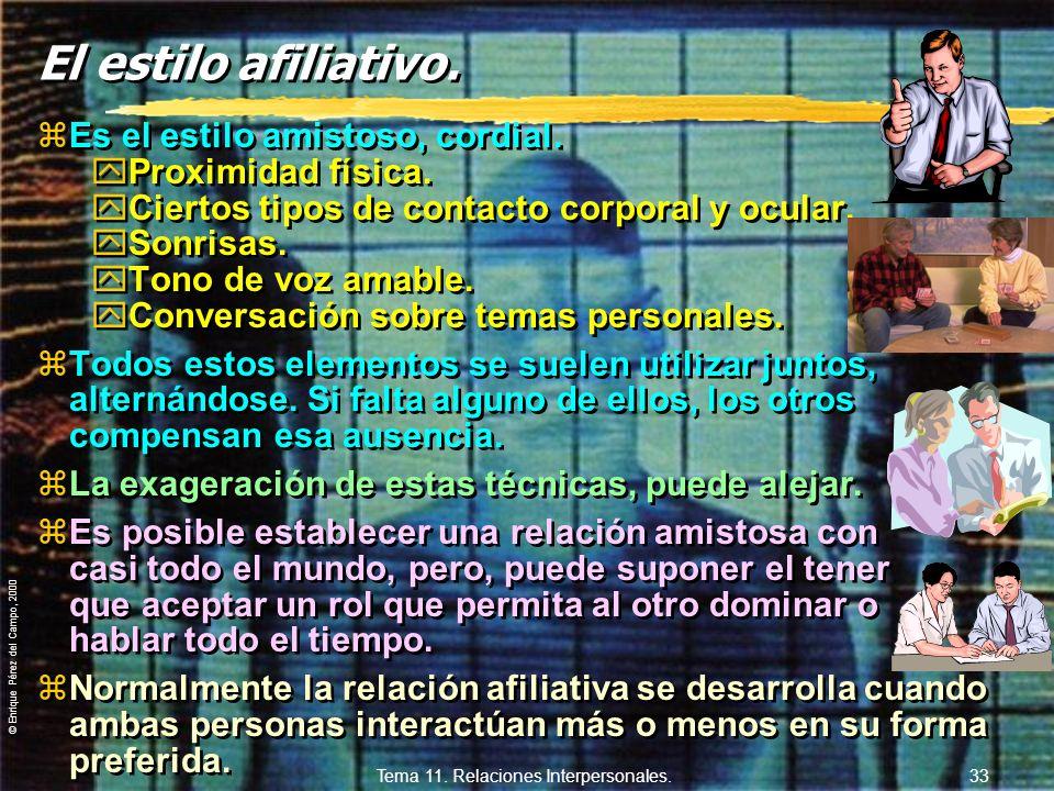 © Enrique Pérez del Campo, 2000 Tema 11. Relaciones Interpersonales. 32 11.3.5. Estilos generales de comportamiento en la relación. zLos estilos de co