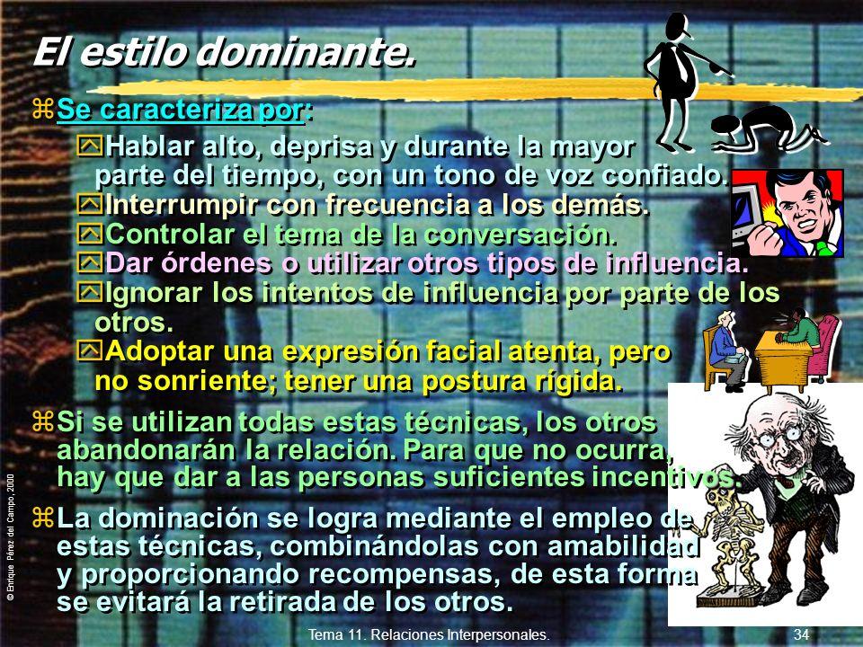 © Enrique Pérez del Campo, 2000 Tema 11. Relaciones Interpersonales. 33 El estilo afiliativo. zEs el estilo amistoso, cordial. yProximidad física. yCi