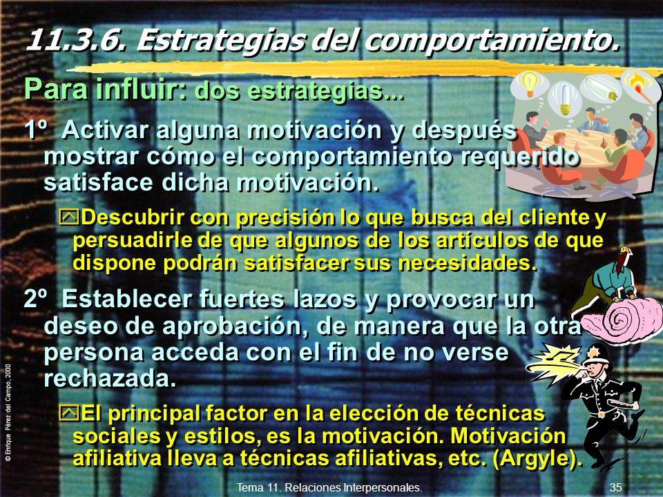 © Enrique Pérez del Campo, 2000 Tema 11. Relaciones Interpersonales. 34 El estilo dominante. zSe caracteriza por: yHablar alto, deprisa y durante la m