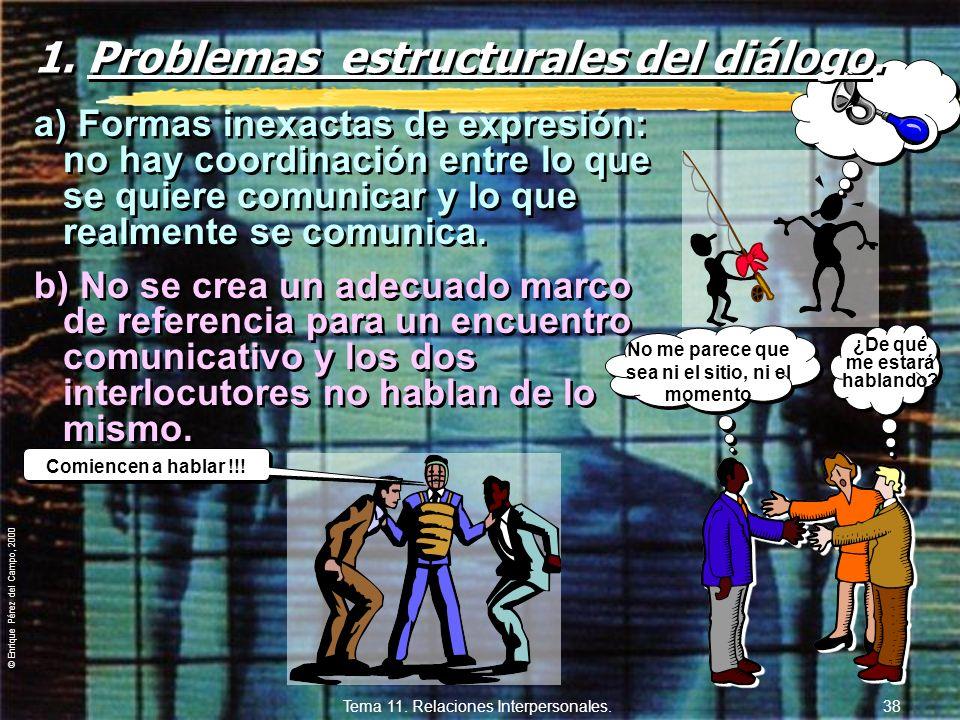 © Enrique Pérez del Campo, 2000 Tema 11. Relaciones Interpersonales. 37 11.4. Comunicación verbal. zAquella parte de la comunicación que se desarrolla