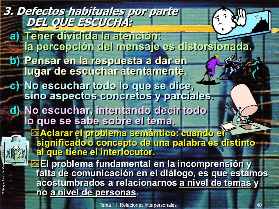 © Enrique Pérez del Campo, 2000 Tema 11. Relaciones Interpersonales. 39 2. Defectos habituales en un diálogo, por parte DEL QUE HABLA: a)No organizar