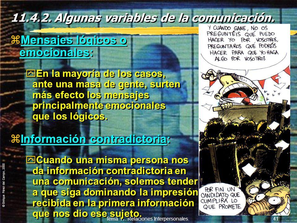© Enrique Pérez del Campo, 2000 Tema 11. Relaciones Interpersonales. 40 3. Defectos habituales por parte DEL QUE ESCUCHA: a)Tener dividida la atención
