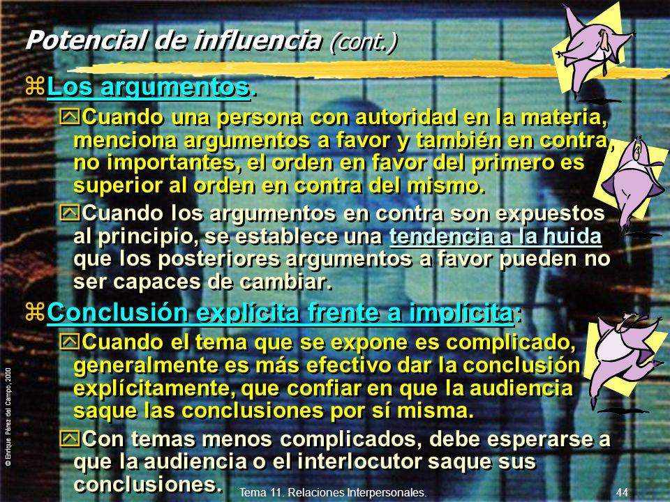 © Enrique Pérez del Campo, 2000 Tema 11. Relaciones Interpersonales. 43 2. Potencial de influencia de una fuente: zEs función conjunta de: a) Las eval