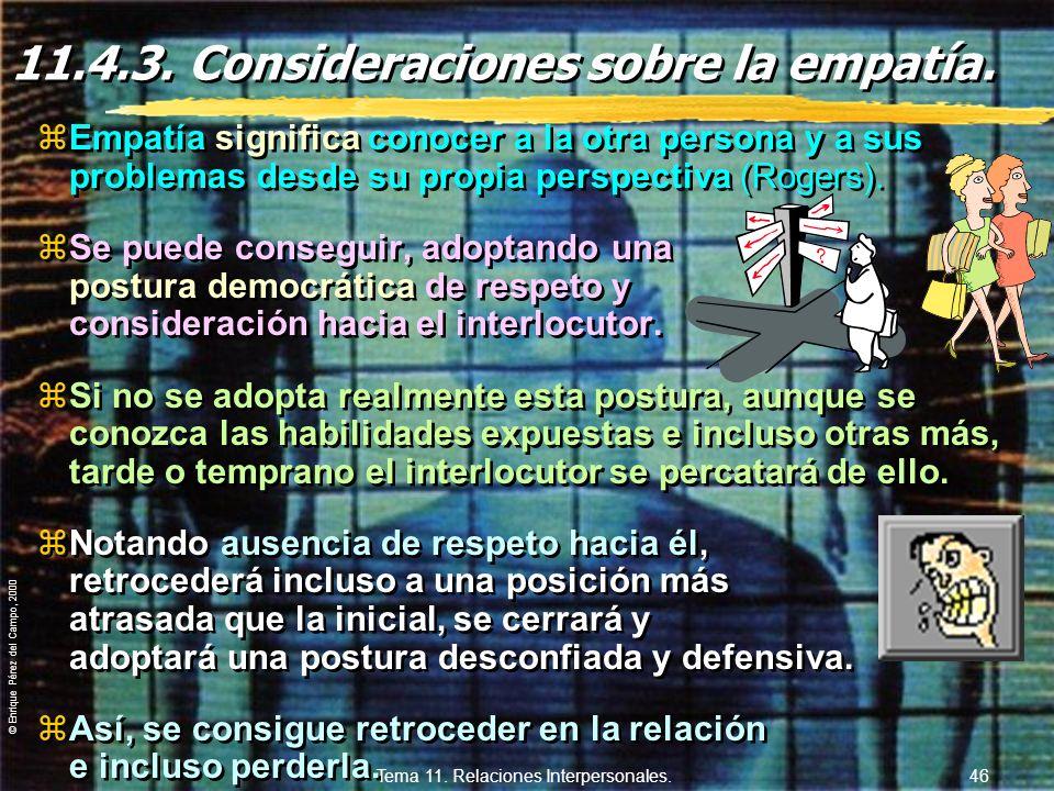 © Enrique Pérez del Campo, 2000 Tema 11. Relaciones Interpersonales. 45 Potencial de influencia (cont.) zInformación y necesidad: yLa presentación de