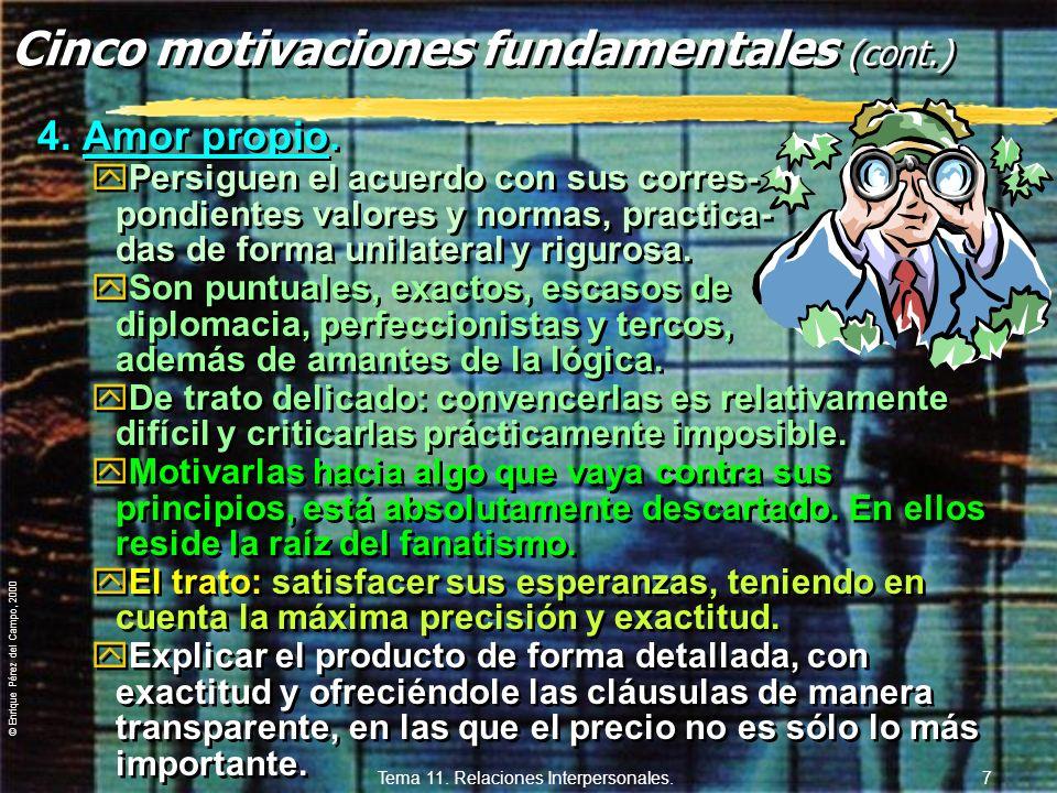 © Enrique Pérez del Campo, 2000 Tema 11. Relaciones Interpersonales. 6 3. Confianza. yLos humanos aspiramos a tener una o varias personas en las que c