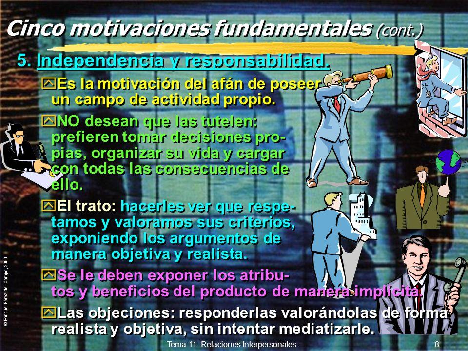 © Enrique Pérez del Campo, 2000 Tema 11. Relaciones Interpersonales. 7 4. Amor propio. yPersiguen el acuerdo con sus corres- pondientes valores y norm