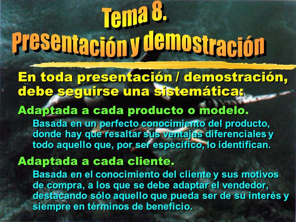 © Enrique Pérez del Campo, 2000 21 Tema 8: Presentación y demostración Lugar de demostración zEl lugar más adecuado es en los locales del vendedor, ya que: yEl producto es completamente nuevo.