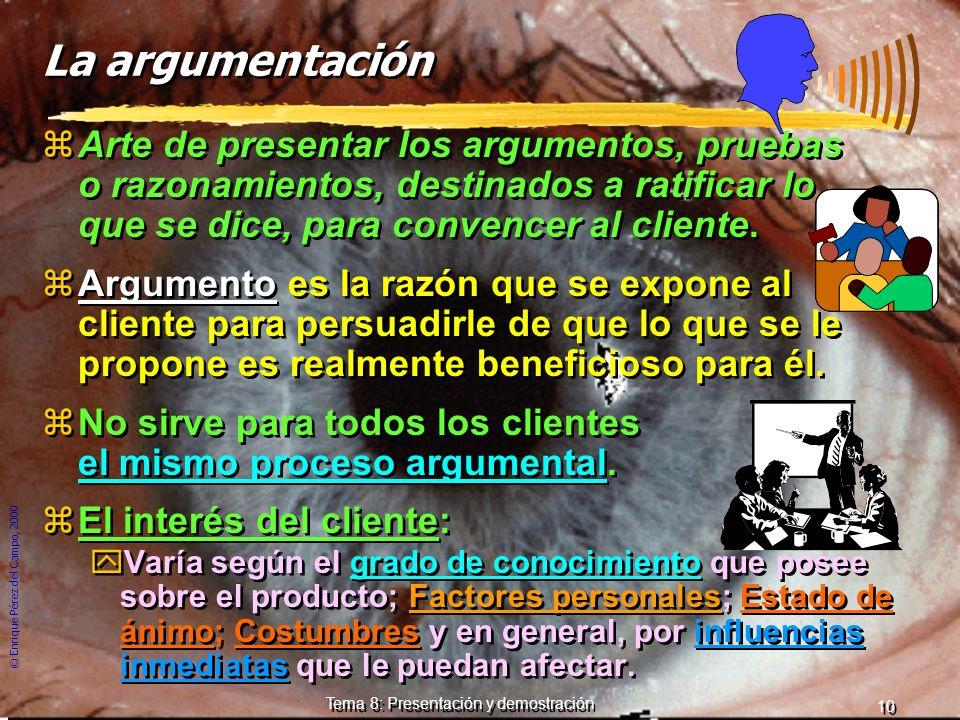 © Enrique Pérez del Campo, 2000 9 Tema 8: Presentación y demostración c) Cierre de la presentación: zBusca cerrar la venta o subrayar las ideas princi