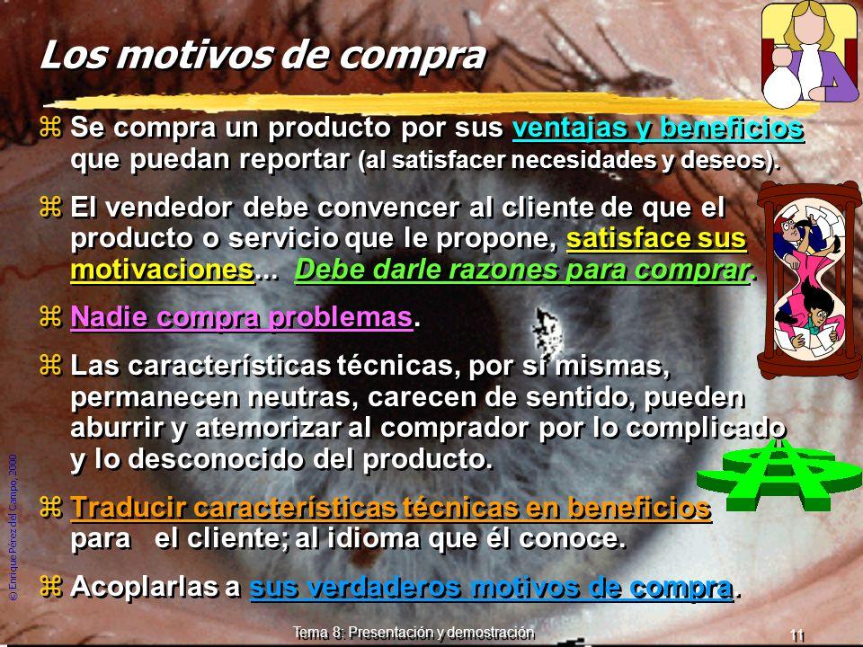 © Enrique Pérez del Campo, 2000 10 Tema 8: Presentación y demostración La argumentación zArte de presentar los argumentos, pruebas o razonamientos, de