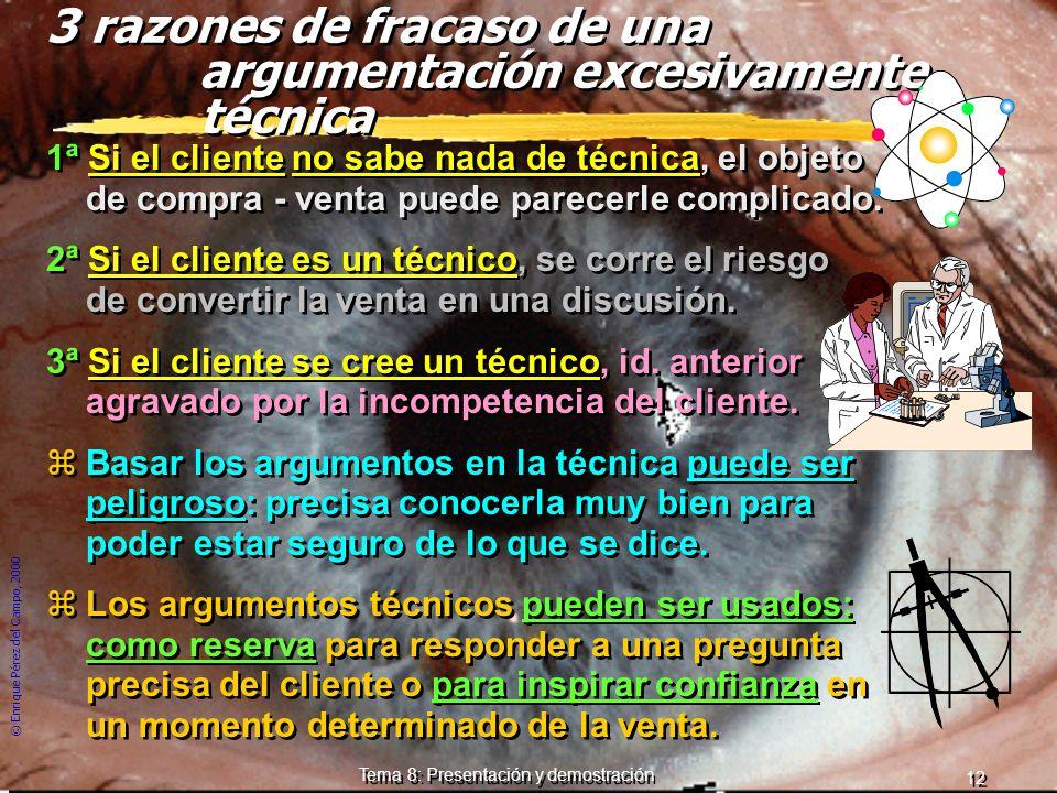 © Enrique Pérez del Campo, 2000 11 Tema 8: Presentación y demostración Los motivos de compra zSe compra un producto por sus ventajas y beneficios que