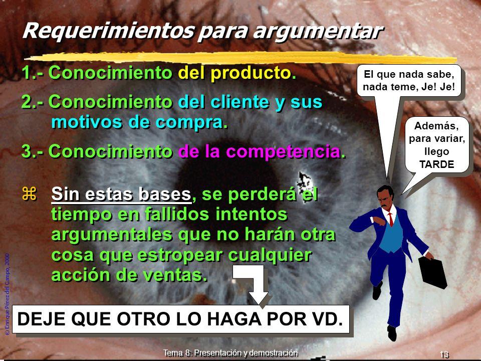 © Enrique Pérez del Campo, 2000 12 Tema 8: Presentación y demostración 3 razones de fracaso de una argumentación excesivamente técnica 1ª Si el client