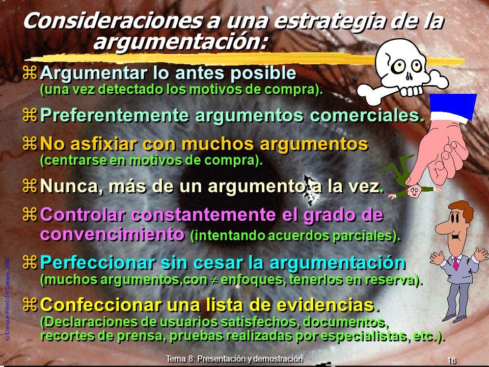© Enrique Pérez del Campo, 2000 17 Tema 8: Presentación y demostración Esquema de un argumento: cinco fases. 1.- Identificación: Tratar de confirmar e