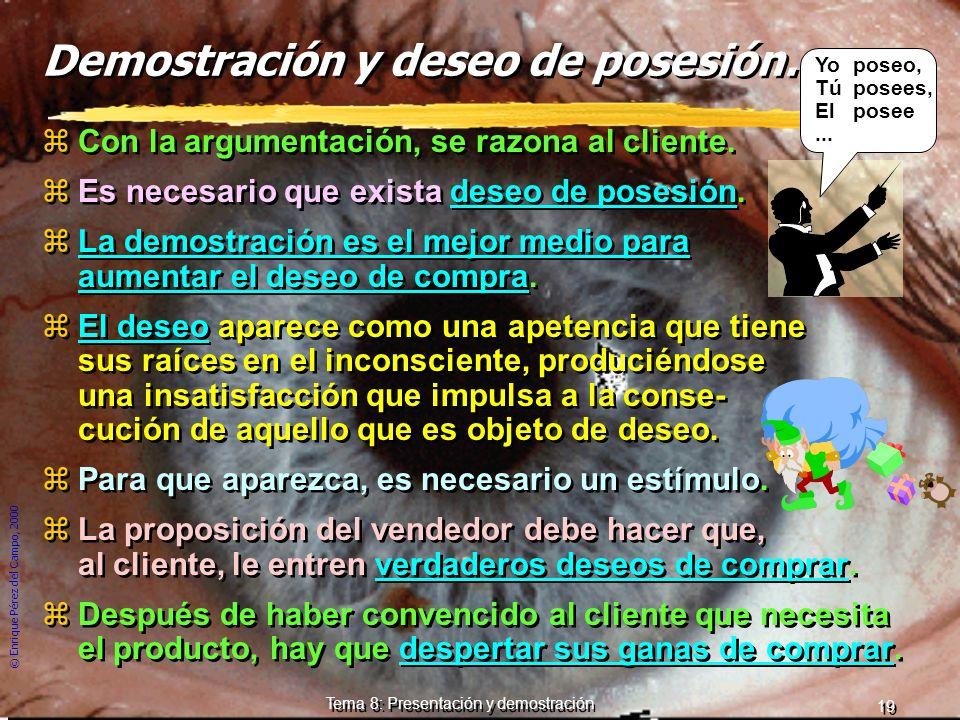 © Enrique Pérez del Campo, 2000 18 Tema 8: Presentación y demostración Consideraciones a una estrategia de la argumentación: zArgumentar lo antes posi