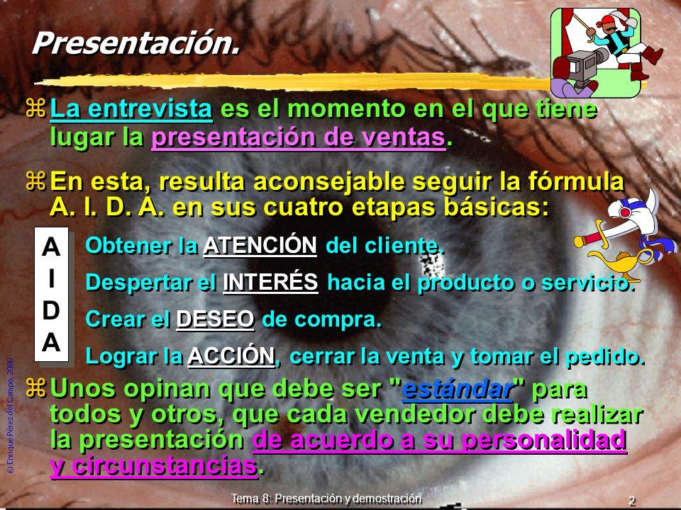 © Enrique Pérez del Campo, 2000 12 Tema 8: Presentación y demostración 3 razones de fracaso de una argumentación excesivamente técnica 1ª Si el cliente no sabe nada de técnica, el objeto de compra - venta puede parecerle complicado.