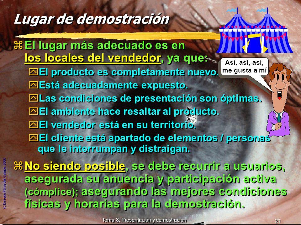 © Enrique Pérez del Campo, 2000 20 Tema 8: Presentación y demostración Demostración zManera eficaz de apoyar la argumentación es la presencia del prod