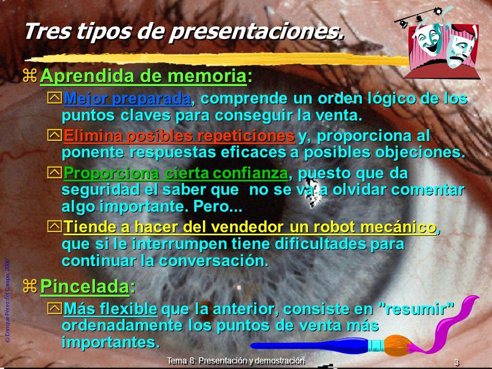 © Enrique Pérez del Campo, 2000 2 Tema 8: Presentación y demostración Presentación. zLa entrevista es el momento en el que tiene lugar la presentación