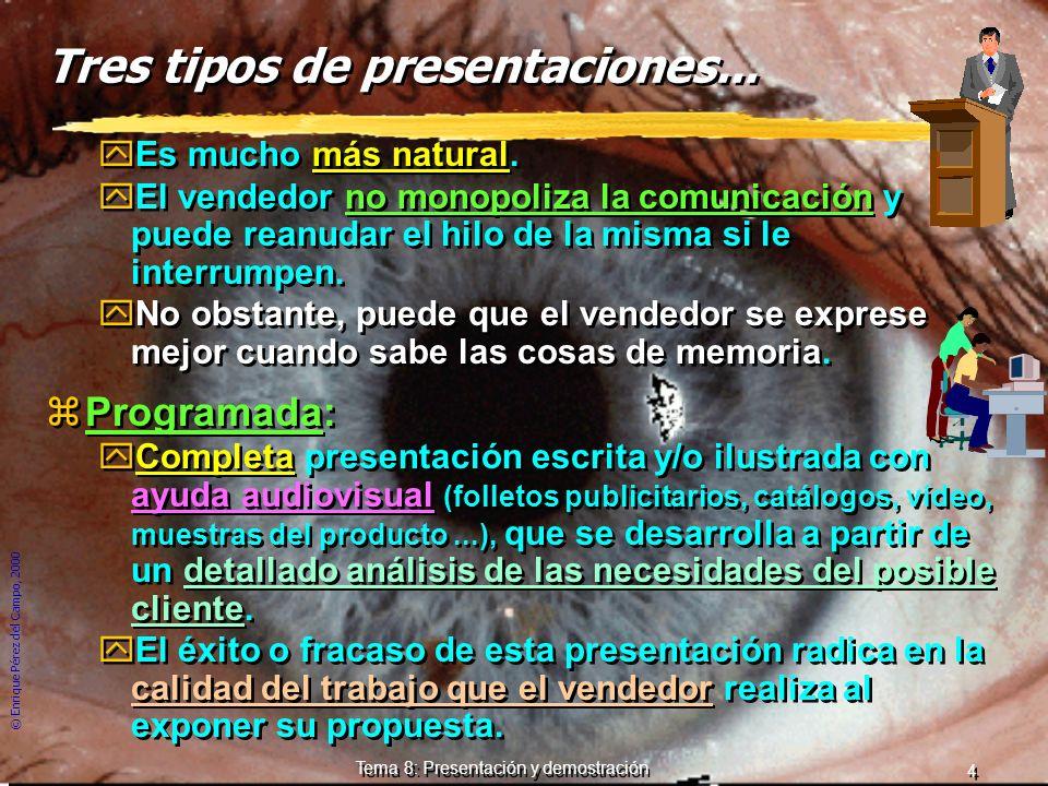 © Enrique Pérez del Campo, 2000 3 Tema 8: Presentación y demostración Tres tipos de presentaciones. zAprendida de memoria: yMejor preparada, comprende
