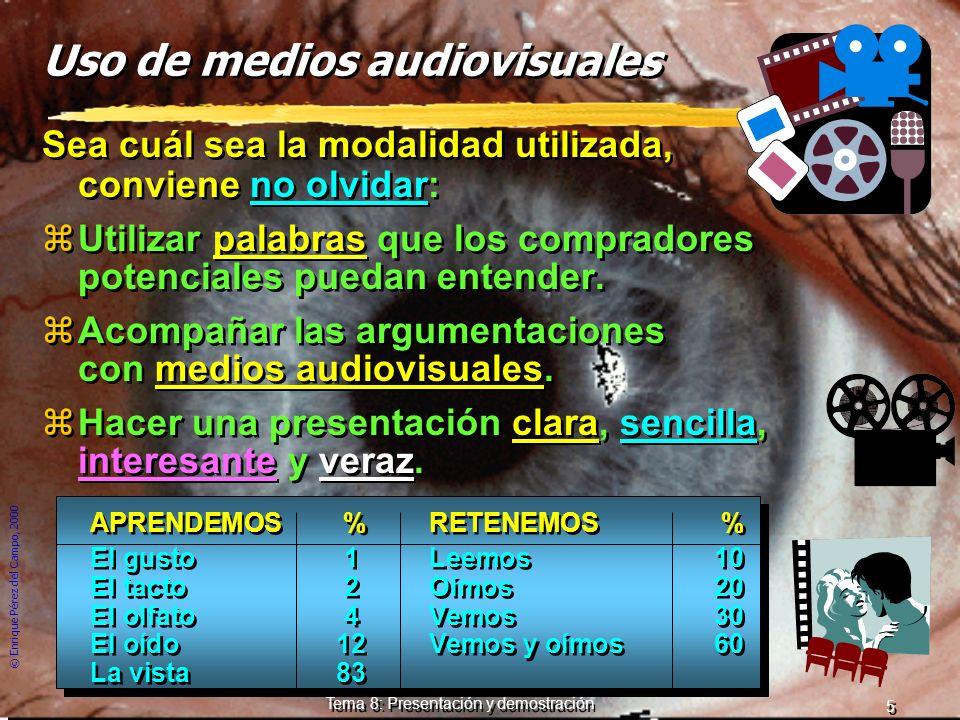 © Enrique Pérez del Campo, 2000 4 Tema 8: Presentación y demostración Tres tipos de presentaciones... yEs mucho más natural. yEl vendedor no monopoliz