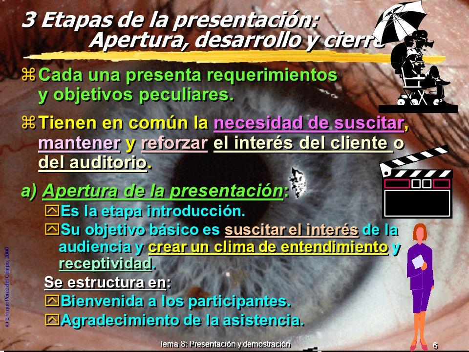 © Enrique Pérez del Campo, 2000 5 Tema 8: Presentación y demostración Uso de medios audiovisuales Sea cuál sea la modalidad utilizada, conviene no olv