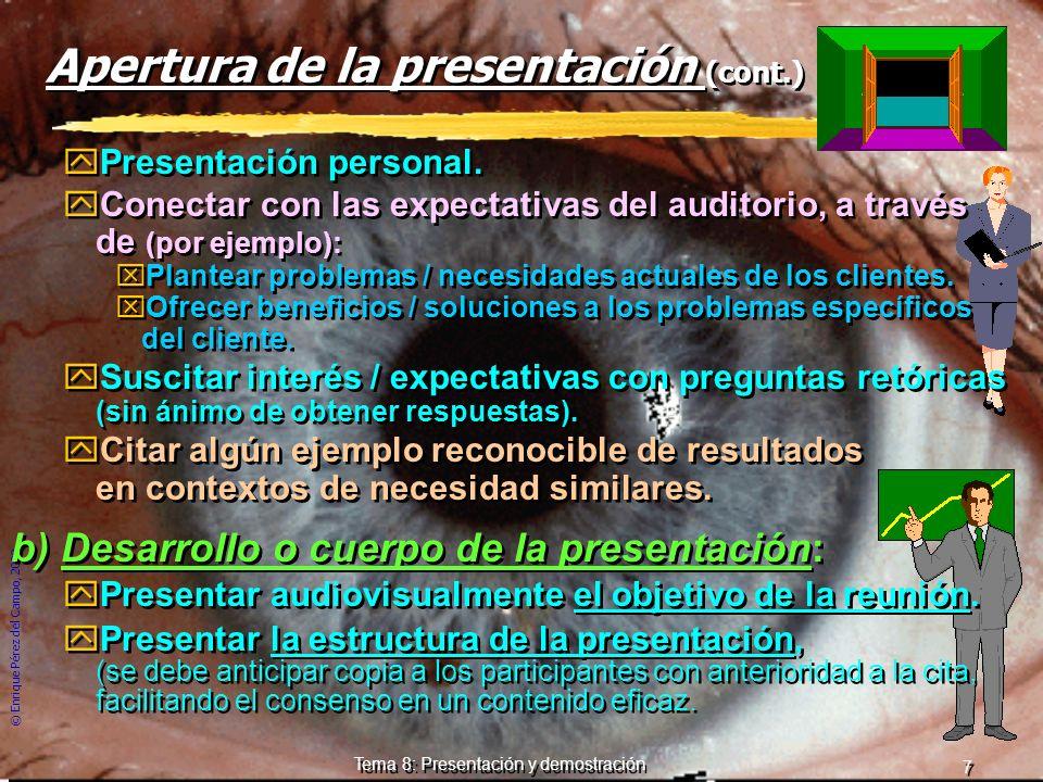 © Enrique Pérez del Campo, 2000 6 Tema 8: Presentación y demostración 3 Etapas de la presentación: Apertura, desarrollo y cierre zCada una presenta re