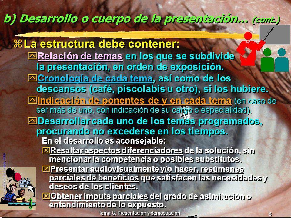 © Enrique Pérez del Campo, 2000 7 Tema 8: Presentación y demostración Apertura de la presentación (cont.) yPresentación personal. yConectar con las ex