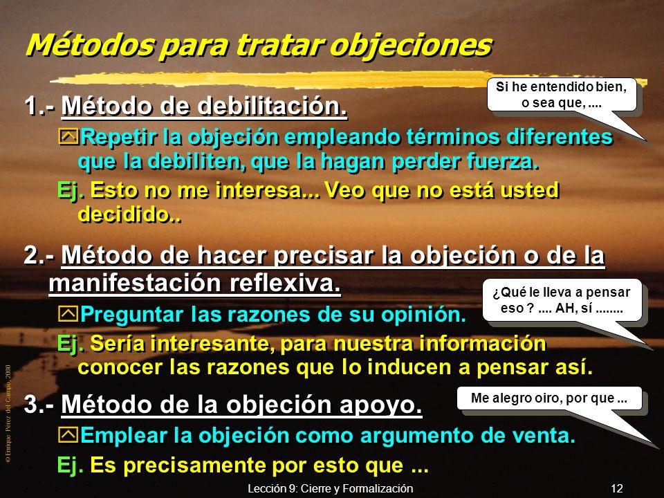 © Enrique Pérez del Campo, 2000 Lección 9: Cierre y Formalización 11 Actitud a adoptar frente al cliente que hace objeciones (2) 8. – No desacreditar