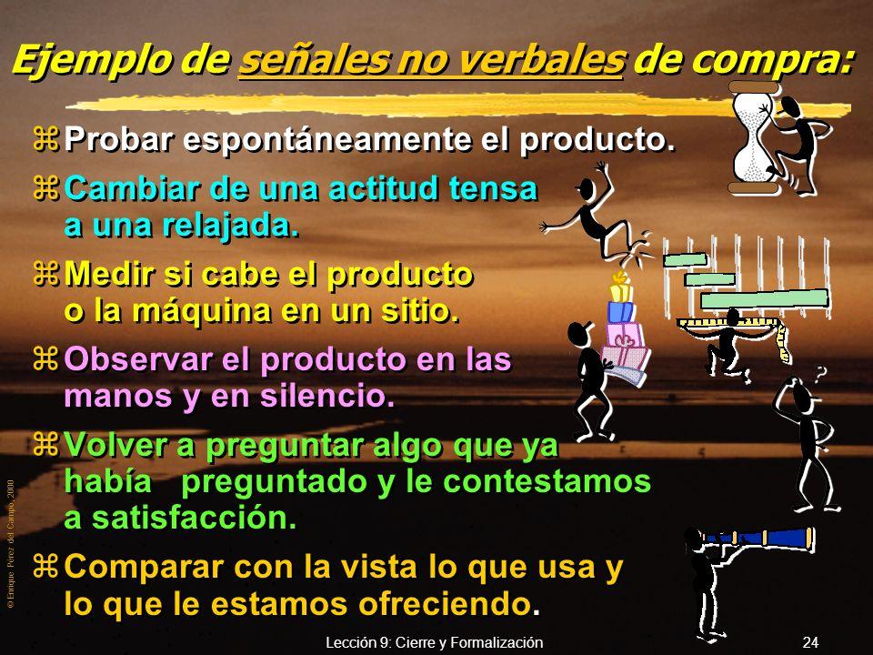 © Enrique Pérez del Campo, 2000 Lección 9: Cierre y Formalización 23 Ejemplo de señales verbales de compra z«¿Cuál es el plazo de entrega?». z«Parece