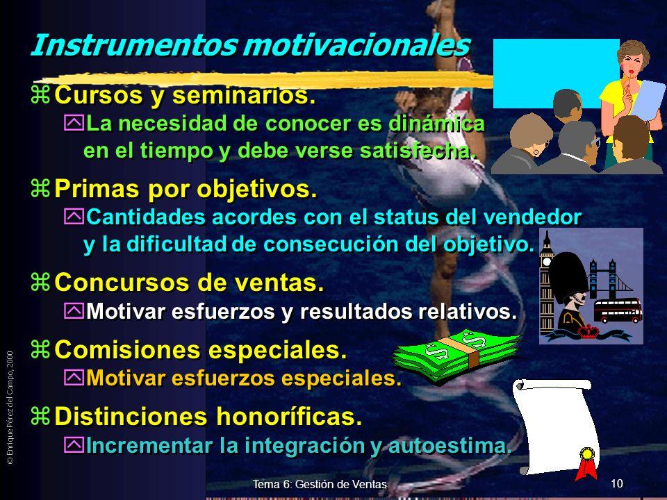 © Enrique Pérez del Campo, 2000 9 Tema 6: Gestión de Ventas Motivación zTodo el personal que se relaciona directamente con el cliente debe estar motiv