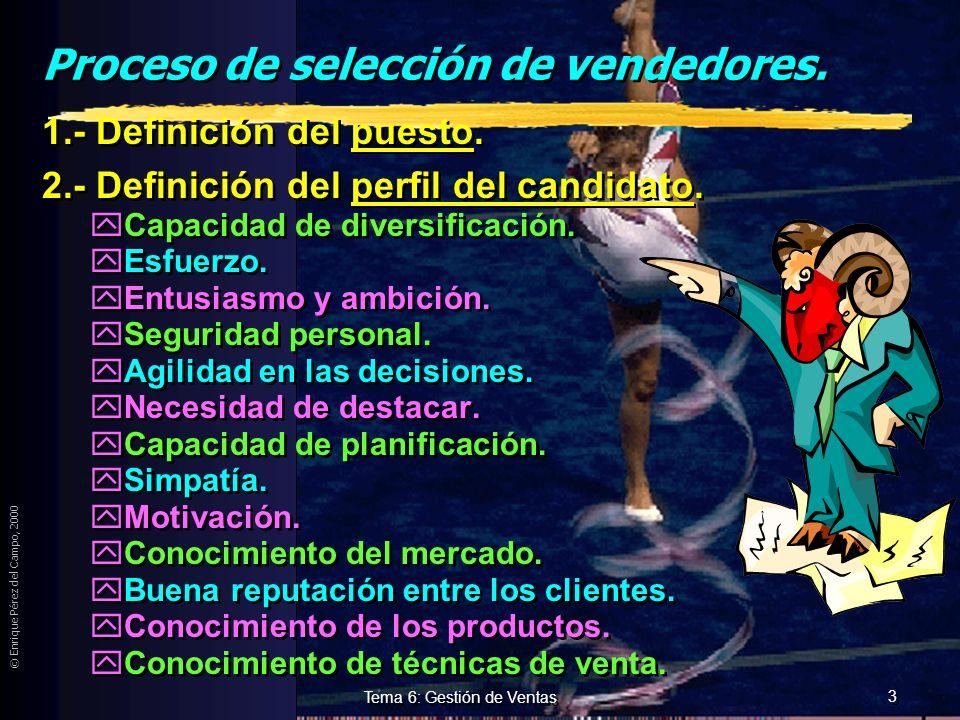 © Enrique Pérez del Campo, 2000 2 Tema 6: Gestión de Ventas Selección del personal de ventas. zCondicionada por: yPapel que la estrategia de Mk. le ot